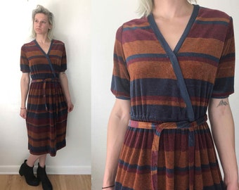 Large Vintage Wrap Dress Striped Terrycloth Dress 60s Dress 70s Dress Jonathan Logan Dress Vintage Dress Party Dress Retro Dress