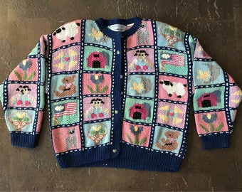 Amazing hand knitted authentic vintage ugly sweater