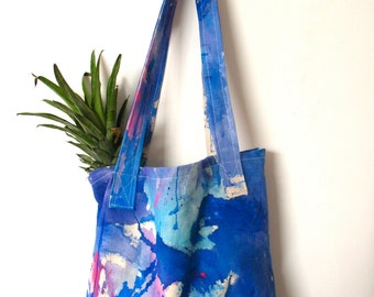 Cotton canvas tote bag -acrylic painted- in blue shades