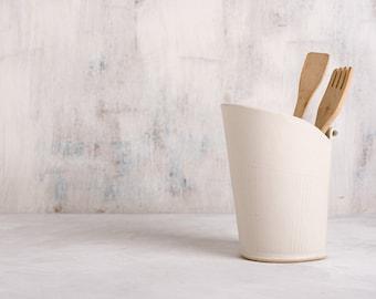 Ceramic Utensil Holder, white storage pot, Modern Utensil Jar, Kitchen Crock holder, Minimalist style vase, Modern Print Vase