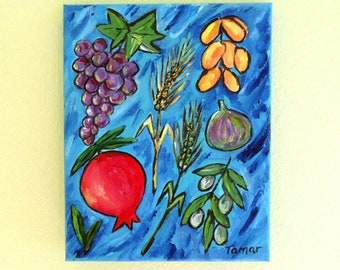 Jewish Art, Original Painting, The Seven Species Card, Jewish Wall Art, Pomegranate, Rosh Hashanah Gift, Sukkot, Rimon, Judaica Artwork