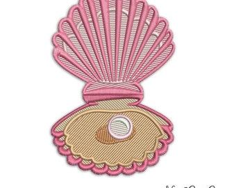 Мachine embroidery Pearl Mussel - Sea  Shell Instant download digital file PES ,DST ,ART by NestGiftCo - 027