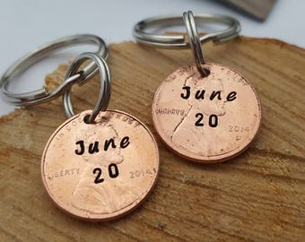 Personalized Couple Keychain, Lucky Penny Keychain, Initial Key Chain, His and Hers,  Anniversary Gift for Husband, Wife Keychains, Gift