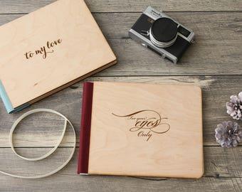 "7x9"" Wood Cover Matted Boudoir Photo Album - Slip In Album - Wood Anniversary Gift"