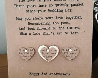 Handmade Personalised 3rd Anniversary Card