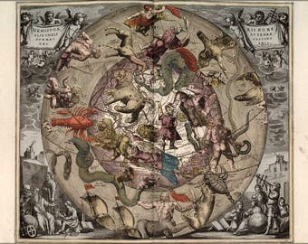 Poster, Many Sizes Available; Map Of Constellations Zodiac Astrology 1708 P2