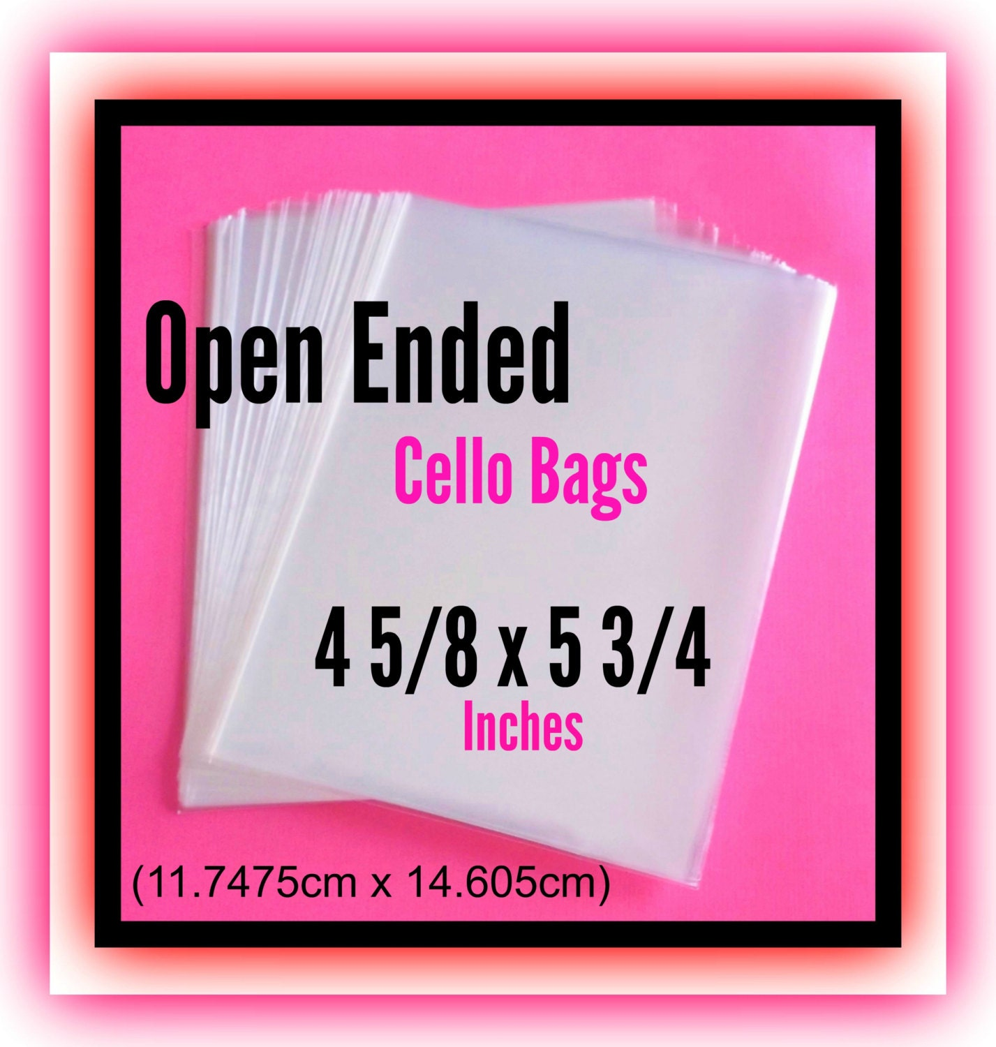 100 4 58 X 5 34 Open Ended Cello Bags Clear Print Sleeves