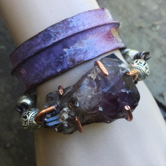 Raw amethyst bracelet and copper enamel bracelet set | beautiful boho stacking bracelets