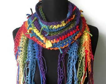 Chakra Vegan Gypsy Scarf in Recycled Cotton Jersey and Hemp Organic Natural Long Scarf Multicolor Rainbow