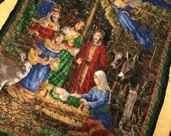Christmas Nativity Scene Quilted Throw Blanket