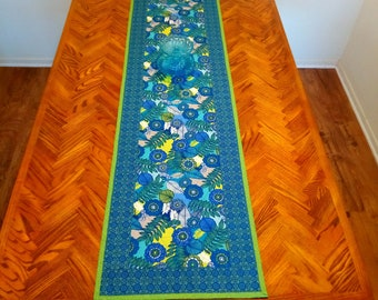 Table Runner, Quilted Table Runner, Blue Green Floral, Table Topper , Handmade Home Decor Gift