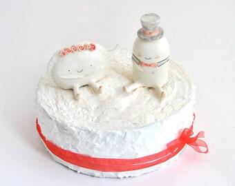 Tortenaufsätze Figuren der Kroketten und Umsatz von Ana Oncina Kleider der Braut und Bräutigam Hochzeit Kuchen. Massanfertigung