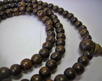 Hand made Agarwood 108 Bead mala, Necklace, Bracelet, Spiritual, Buddhist meditation, surfer, Tibetan Mala, Prayer Bead