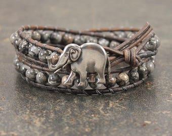 Gemstone Elephant Bracelet Silver Gray Elephant jewelry Double Leather Wrap Bracelet