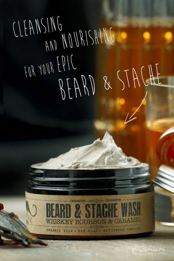 BEARD & STACHE WASH - Whiskey Bourbon and Caramel~organic beard soap~beard shampoo~beard care~mens care~whipped soap~mustache wash~for him
