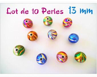 Set of 10 beads 13 mm acrylic psychedelic Pop metallic