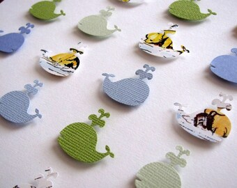 Classic Winnie the Pooh - Baby Whales 3D Whimsy Collage - 8x8 - YOUR Choice of Colours for Co-ordinating Whales - Made to Order