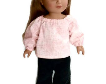 18 Inch Doll Clothes, Pink Prairie Shirt with Black Corduroy Pants, Winter Doll Clothes