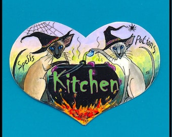 Original SIAMESE CAT  Kitchen  HALLOWEEN  sign by Suzanne Le Good