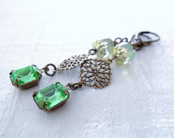 Bohemian Summer Green Earrings Vintage Inspired Chamomile Daisy Earrings Long Brass Dangles Delicate Filigree Earrings English Garden Floral