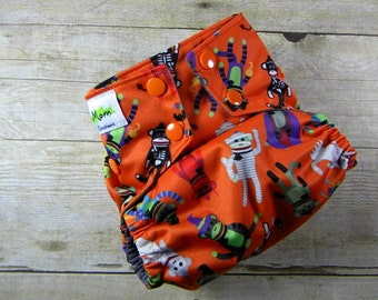 Halloween Sock Monkeys OS Ai2 w/ Bamboo Insert Cloth Diaper All in Two
