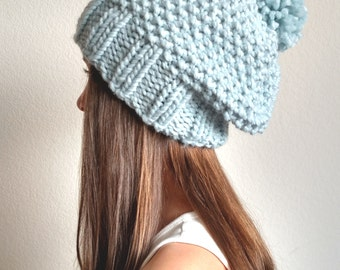 The KODIAK - Knit slouchy hat with / without PomPom -  More colors available
