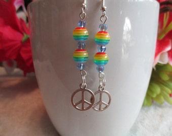 Rainbow Hand Sign Charm Earring