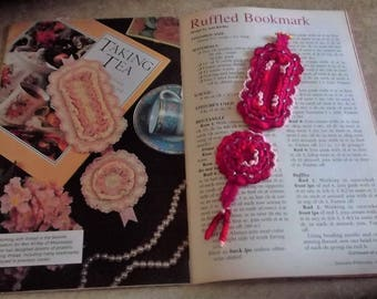 "Bonnie's OOAK Crochet Cotton Thread item 7"" Ribbon Ruffle beaded w/curly Tail Bookmarker Pinkish/Red  @cyicrochet My Handmade Gift Shop."