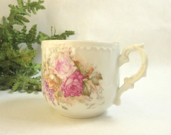 Antique Mustache Cup / Mug / Rose Bouquet / Unmarked