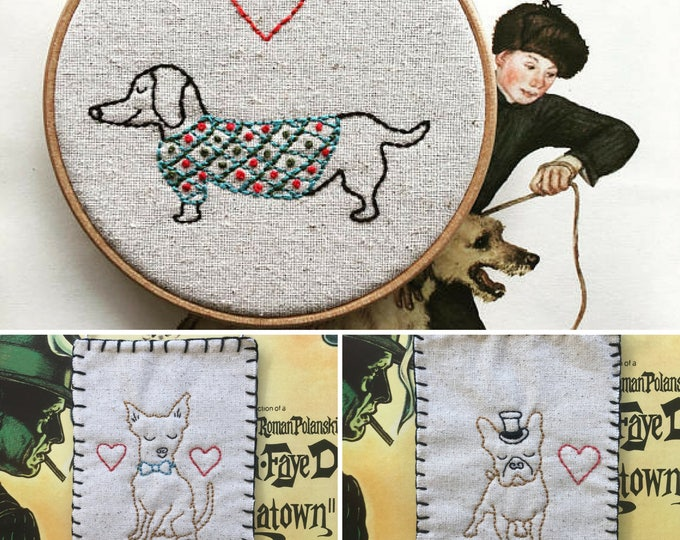 hand embroidery pattern | valentine gift | modern embroidery | DIY embroidery pattern | puppy trio - instant digital download