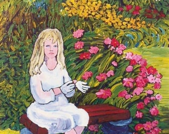 Flower Girl Art Print of my  Original Painting, Young Girl Portrait with Flower Garden, Wall Art, Room Decor, Girls Room, Colorful Picture