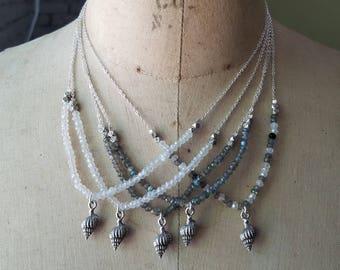 Pewter Seashell Pendant, Labradorite, Moonstone Necklace, Nautical, Ocean Life, Gemstone Sea Shell Necklace
