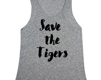 Save the Tigers Tank Top - Tiger tank top for Women - Tiger Tanks - Womens Heather tiger shirts - XS, Small, Medium, Large, XL, 2X