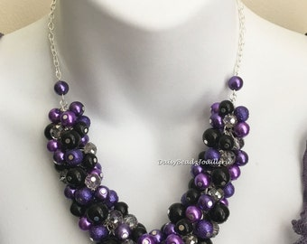 Purple and Black Pearl Necklace Bridesmaids Jewelry Purple and Black Wedding Maid of honor Necklace Wedding 2016