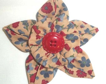 Fabric Flower Brooch or Pin in Deep Red, Country Blue and Tan Floral with Vintage Button F-21