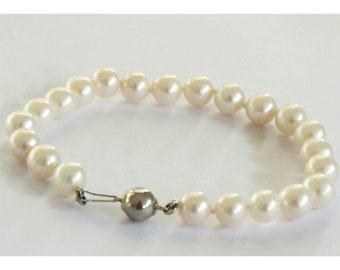 White Handmade Freshwater Pearl Bracelet  7.0-7.5mm