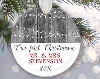 """Our First Christmas as Mr & Mrs Christmas Gift Personalized Christmas Ornament Hanging lights Rustic Gray """"Wood"""" Ornament OR070"""