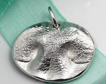 Dog Nose Pendant LARGE Charm Custom made Pet keepsake of pure .999 Fine Silver for Charm Bracelet, Pendant, Necklace