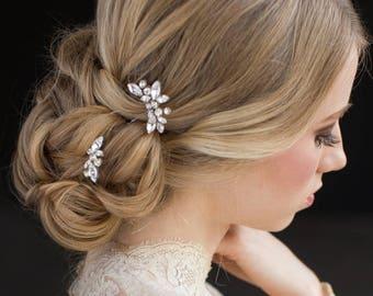Bridal Hair Pins, Rhinestones Hair Pins, Set of 3 Hair Pins, Bridal Hair Piece,Wedding Headpiece, Crystal Hair Pins, Silver Hair Pins- ANNA
