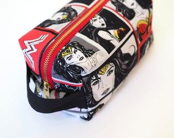 Wonder Woman Small Boxy Bag with Metal Zipper - Cosmetics Bag / Pencil Bag/Toiletry Bag