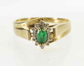 10K Marquise Emerald* Diamond Halo Freeform Ring Size 6.25 Yellow Gold