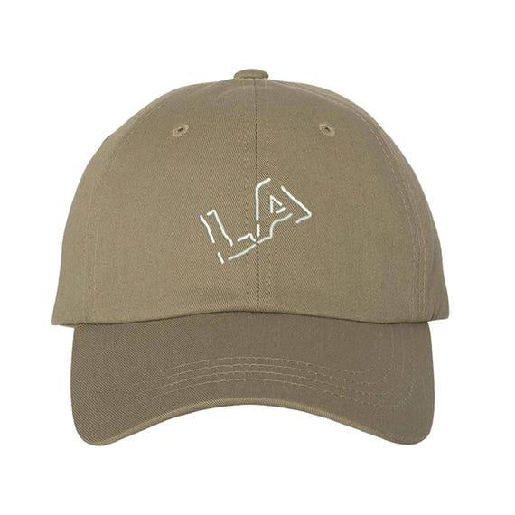 "LA SLANT Dad Hat, Embroidered West Coast Los Angeles, Low Profile ""LA"" Slanted Baseball Cap Hats, Multiple Colors Available"