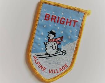 Bright Alpine Village, Australia - skiing snowman - souvenir collectible travel patch