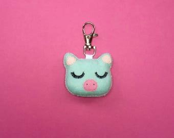 Pig Keychain - Pig Bag Charm - Mint Pig Keyring - Pig Party Favor - Cute Piglet - Pig Charm - Bag Charm - Animal Party Favor