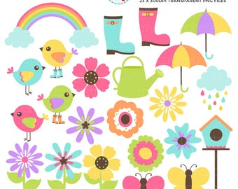 Spring Elements Clipart Set - flowers, birds, springtime, rainbow, boots, umbrella - personal use, small commercial use, instant download