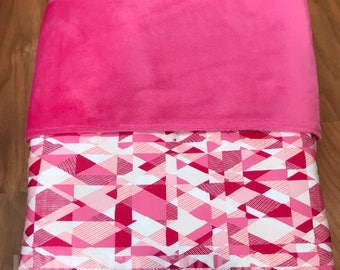 READY TO SHIP - Pink Geometric - Personalized Name Blanket - Baby shower - Baby gift - newborn