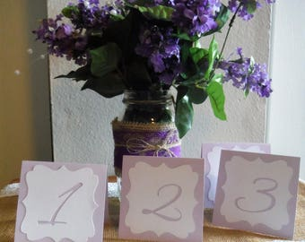 SETS of tented Wedding Table Number Cards Lavender/white