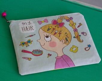 My hair zipper bag, Zipper pouch, Accessories bag, kids zipper bag