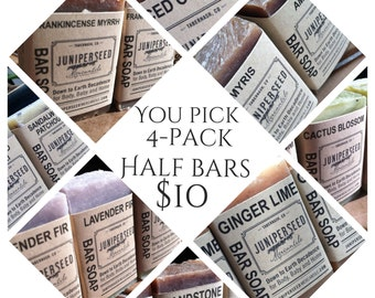 You Pick - 4 Pack of Half Bars - Guest Soap, Stocking Stuffer, Thank You gift - All Natural Vegan Soap For Men and Women