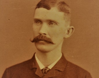 ON SALE Chicago Illinois IL 1800's Man with Mustache cabinet card photograph photo -- old antique vintage